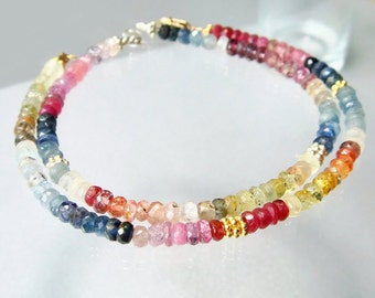 Rainbow Gemstone Bracelet, Ombre Sapphire Colorful Bracelet, Multi Shaded Gemstones, Sapphire Jewelry Custom Made Your Size, Silver or Gold