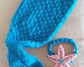 Mermaid tail photo prop with starfish headband.