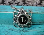 Typewriter Key Necklace - Initial L Pendant