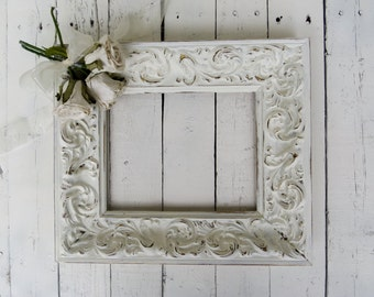 French Country Frame, Vintage Frame, White Frame, Large Ornate Frame, Shabby Cottage Decor, Paris Apartment, 8x10 Wood Frame