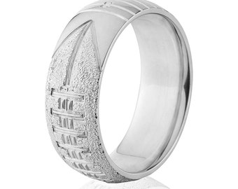 sterling silver football ring football ring weddign band unique gift free engraving team name sterling silver band: SS-8HR-Football-Txt