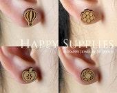 4pcs Mini (SMN01-04) DIY Laser Cut Wooden Earring Charms - SWC Series