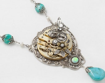 Steampunk Necklace Vintage Gold Pocket Watch with Opal, Turquoise, Crystal, Pearl, Butterfly & Silver Filigree Leaf Statement Necklace 3029