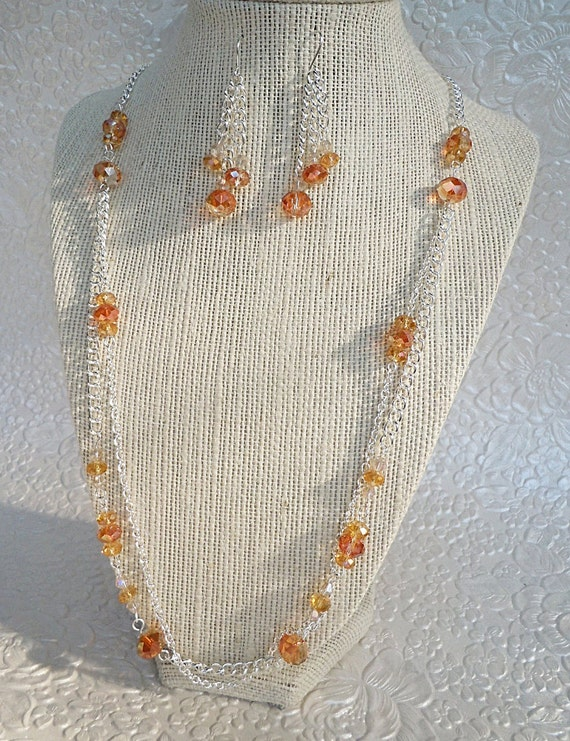 Tangerine Orange and Silver Necklace and Earrings Set