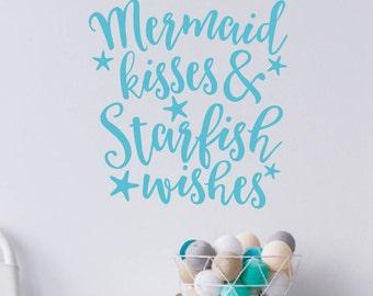 Mermaid Kisses Starfish Wishes wall decal, mermaid decor, mermaid nursery, bedroom decor, bathroom wall art, mermaid vinyl lettering LP1900