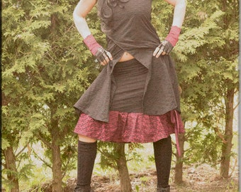 Dress - Wrap Around Dress - Gypsy Boho - Black - Gypsy Tribal Clothing - Eco Vegan Cotton - Summer Dress - Wrap - Size Medium