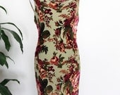 Velvet Maxi Dress Backless Cowl Neckline Sheer Velvet Burnout Floral Roses Scoop Neck Sleeveless 90s