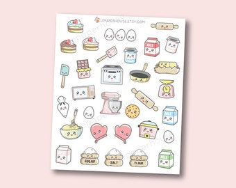 Kawaii Food Stickers - Kawaii Baking / Cooking planner stickers, Erin Condren stickers, Personal Planners
