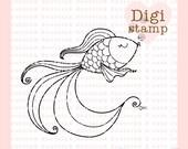 Pretty Fish Digital Stamp - Fish Digital Stamp - Digital Fish Stamp - Fish Art - Fish Card Supply - Fish Craft Supply
