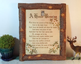 Large vintage Catholic A House Blessing framed religious art print w/ dogwood blossoms. Rustic bark log frame. Cabin Lodge Prairie Farmhouse