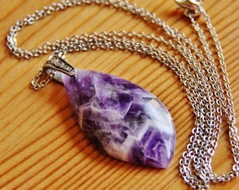 SALE - Amethyst gemstone pendant necklace layering jewelry healing stone natural extra long boho purple semi precious gem elegant stylish