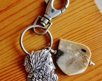 Upcycled Keychain accessory for man keyring pendant jewelry for guy Greek Mythology Zeus God Petrified Wood stone masculine sterling silver