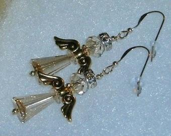 14kt GF Angel Golden Shadow Ab Swarovski Crystal Dangle Earrings