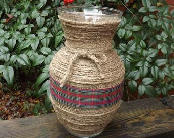 Christmas Vase, Jute and Burlap Vase, Country Decor, Christmas Decor, Farmhouse Vase, Rustic Vase, Holiday Vase,  Flower Vase, Glass Vase