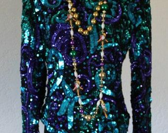 Vintage Purple Sequin Blouse by Laurence Kazar