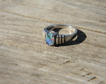 Black Opal Doublet Sterling Ring size 7