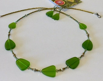 Gorgeous Shades of Green, Sea Glass and Swarovski Crystal Bead Necklace and Earring Set