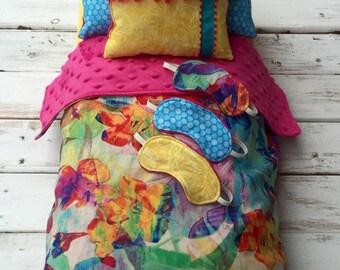 "Lea Clark Rainforest Bedding for 18"" doll, American Girl, blanket, pillows, sleep mask, Girl of the Year, Brazil, Sea, Ocean, pink yellow"