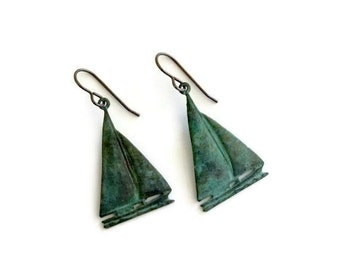 Sailboat Earrings, Verdigris Patina, Patina Brass Jewelry, Nautical Earrings, Sailing Earrings