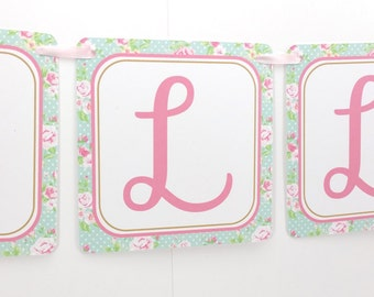 Name Banner - Made to Match Pink Shabby Chic Horse Party Birthday Banner