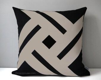 Black & Taupe Outdoor Pillow Cover, Geometric Throw Pillow Case, Decorative Pillow Case, Sunbrella Pillow Cushion Cover, Mazizmuse Pinwheel