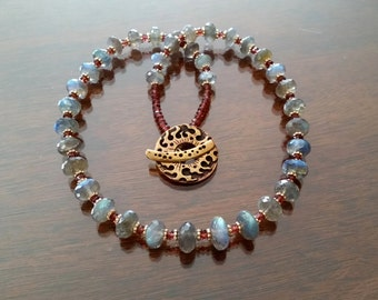 Flashy Faceted Labraorite and Garnet Rondelle Necklace with Gold Filled