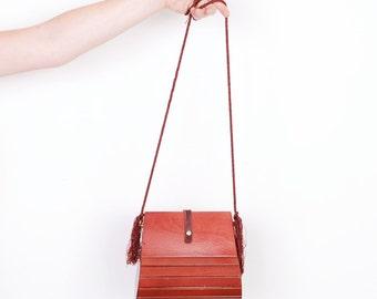Vintage 1970s Purse / 70s Real Wood Crossbody Bag  / Fringed