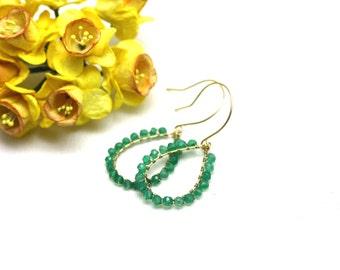 Vibrant Green Onyx Chandelier Earrings in Gold | Bright Emerald Green Wire Wrapped Gemstones | Yasmin Earrings by Azki