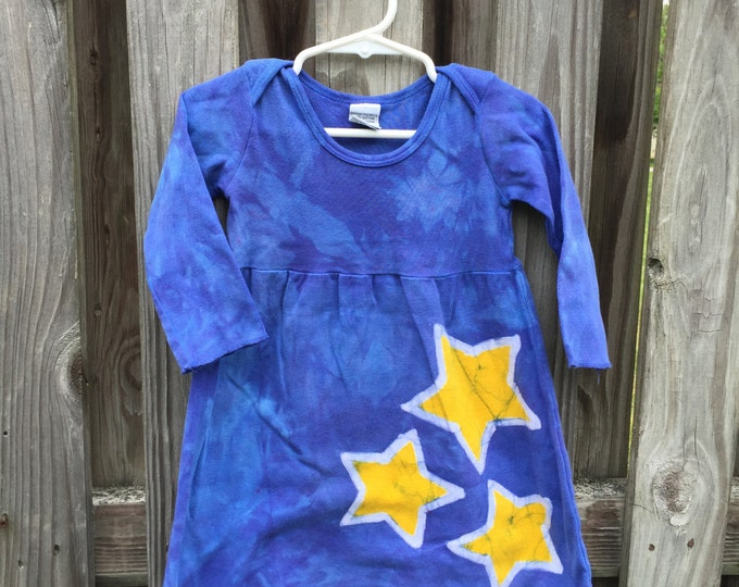 Baby Star Dress, Yellow Star Dress, Blue Star Baby Dress, Long Sleeve Baby Dress, Blue Baby Dress, First Birthday Gift (12 months)
