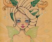 Rain Drop Fairy Faerie Fantasy folklore Pacific Northwest wings Original Art Giclee fine art print 8x8