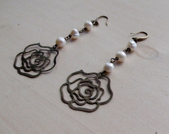 Romantic Rose Drop Earrings  with Freshwater Pearls