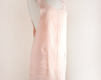 Crisscrossed Japanese style apron 100% Linen Light Pink color Apron/Pinafore.
