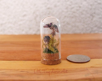 Mini Bell Jar with Spotted Toadstools and Butterfly