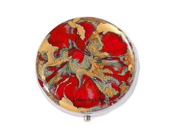 Round Metal Pill Box Hand Painted Enamel in Red and Gold Quartz Inspired Design with Personalized and Color Options