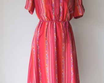 Vintage Floral Striped Secretary Day Dress