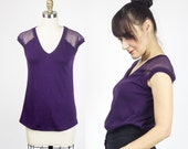 Plum Eco t-shirt / Amethyst bamboo & silk tee / Cozy womans top / sustainable fashion
