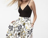 Thistle Swing Pocket Skirt in Pale Pink, Ochre and Black on White