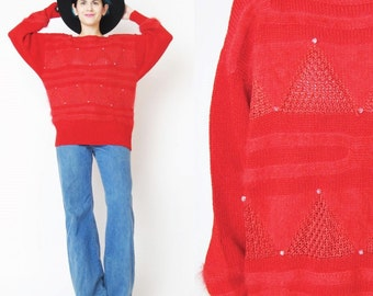40% OFF SALE Vintage 1980s Angora Sweater Soft Fuzzy Red Sweater Geometric Triangle Sweater Red Striped Sweater Slouchy Knitted Jumper (L)