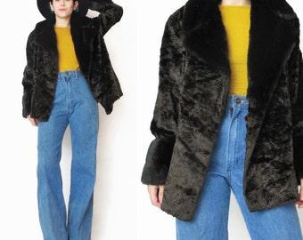 1950s  1960s Faux Fur Coat Vintage Brown Faux Fur Coat Fake Fur Winter Coat Cropped Fur Winter Jacket Swing Mad Men Chocolate Brown (M)