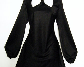 60s / 70s CUT OUTS GoGo Dancer DRESS with gold ring chocker, micr mini a-line, size small - medium