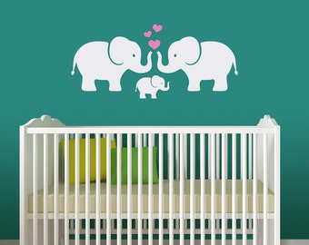 Elephant Family Decal Set with Hearts - Nursery Wall Decal - Family Love - Baby Wall Decor - Elephant Baby - Heart Decals