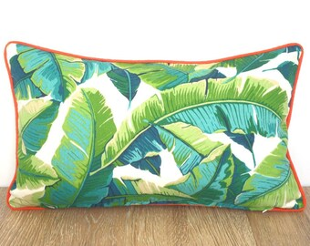 Tropical outdoor pillow cover 20x12, swaying palm leaf pillow with piping, green outdoor cushion palm print, banana leaf lumbar cover
