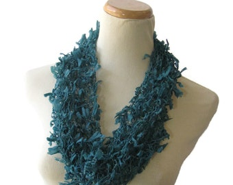 Teal Cowl, Knit Cowl, Hand Knit Scarf, Blue Circle Scarf, Gift Idea For Her, Spring Scarf, Mother's Day Scarf, Loop Scarf, Fashion Accessory