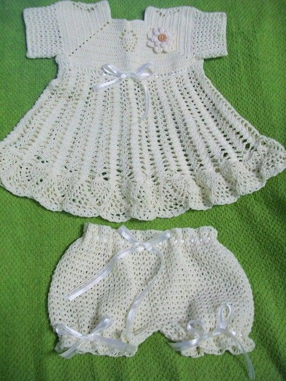 Crocheted Baby Dress Cream Handmade by KrochetKountry on Etsy