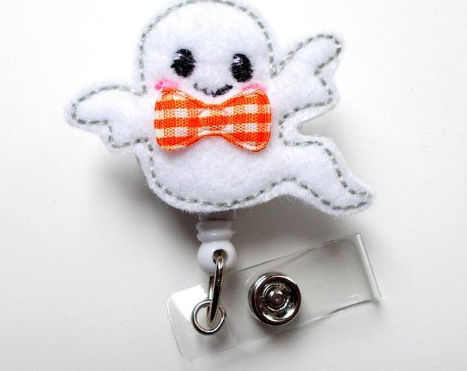 Baby Ghost with Bow - Unique ID Badge Reel - Name Badge Holder - Cute Badge Reel - Badge Clip - Nursing Badge Clip - Felt Badge - Halloween