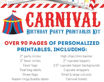 Carnival or Circus Birthday Party Printable Decor Kit - Over 90 pages of fun designs!