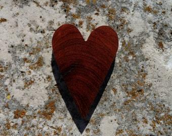 Rustic Texas Honey Mesquite burl wood heart magnet OOAK cut