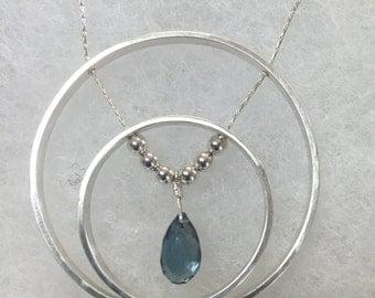 London Blue Topaz Double Circle Necklace