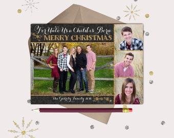 Black & Gold Christmas Photo Cards · 4 pictures · Unto Us A Child is Born · Christian Christmas Card