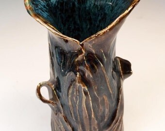 Gorgeous Flower or Bud Vase in rich brown and flowing blue